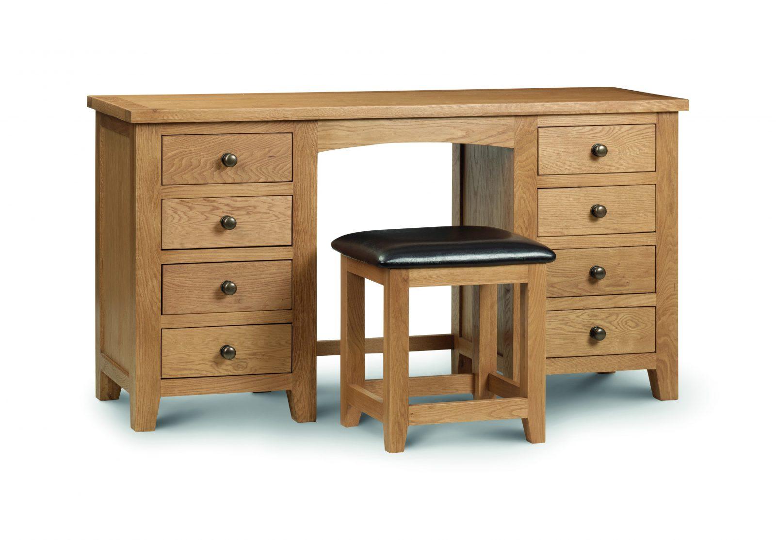 Marlborough Oak Twin Pedestal Dressing Table Set