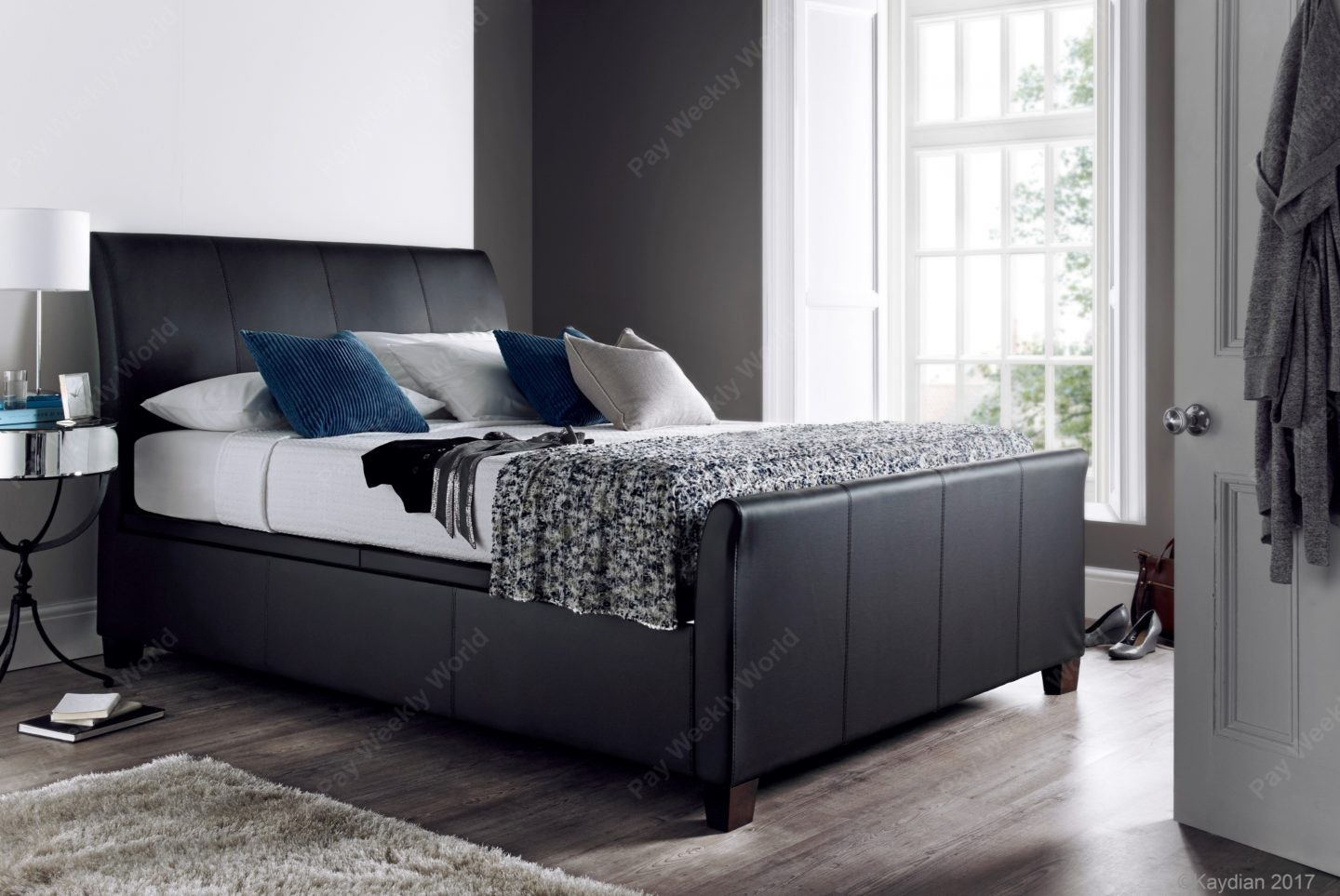 Allendale Ottoman Leather Bed Range - Black