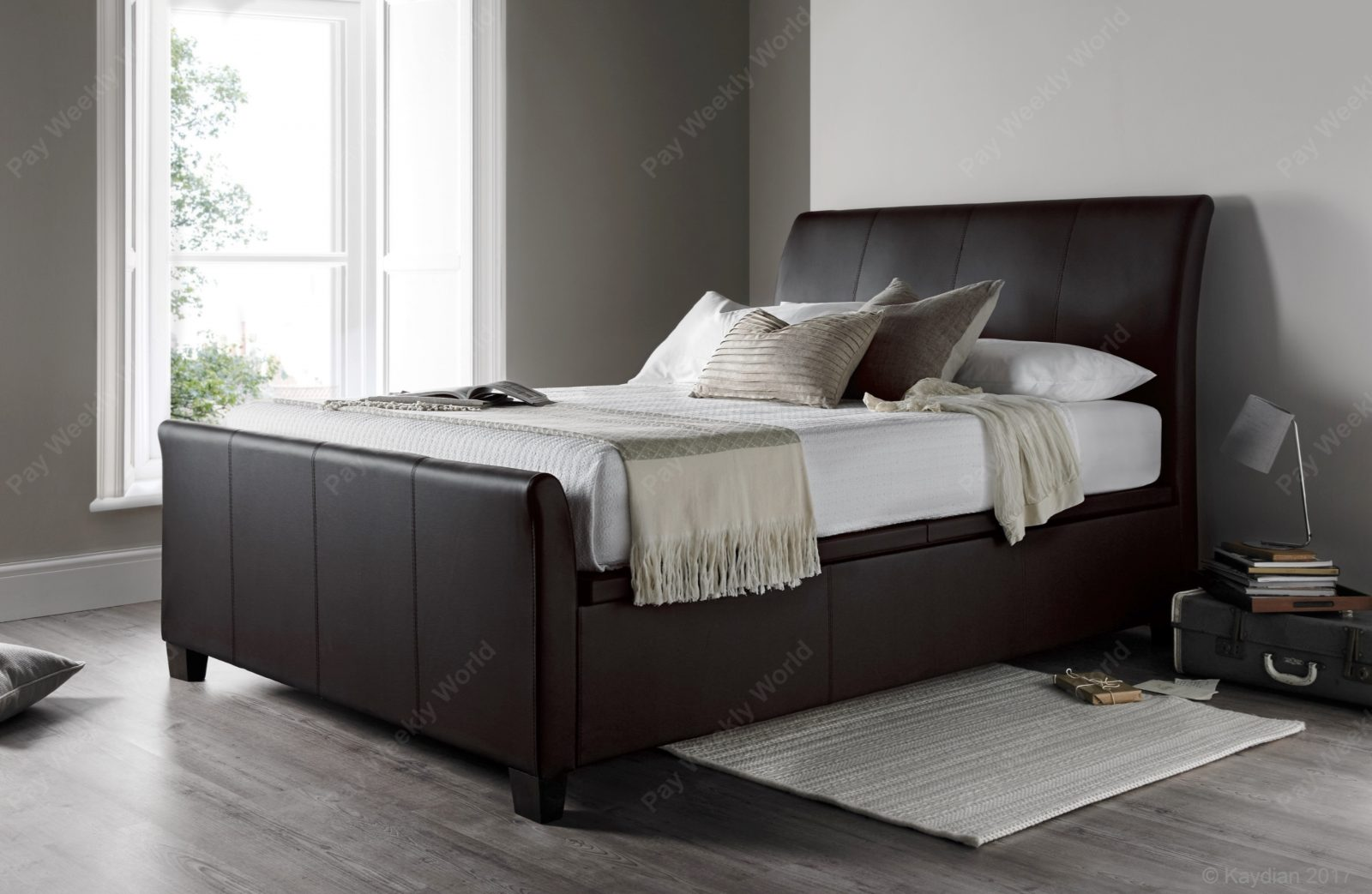 Allendale Ottoman Brown Leather Bed Frame – Double