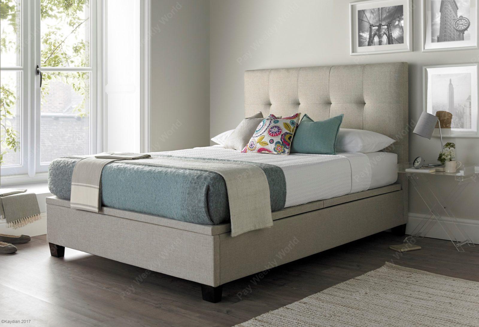 Walkworth Ottoman Oatmeal Bed Frame – Double