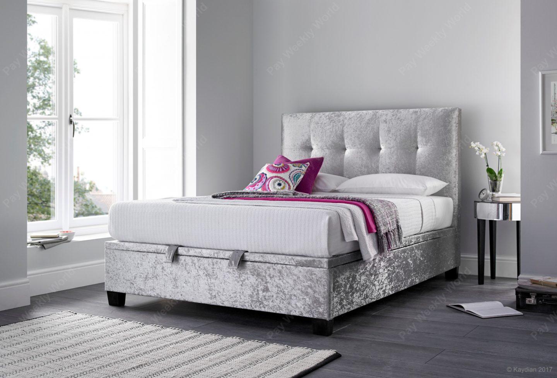 Walkworth Ottoman Bed Range - Silver Crushed Velvet