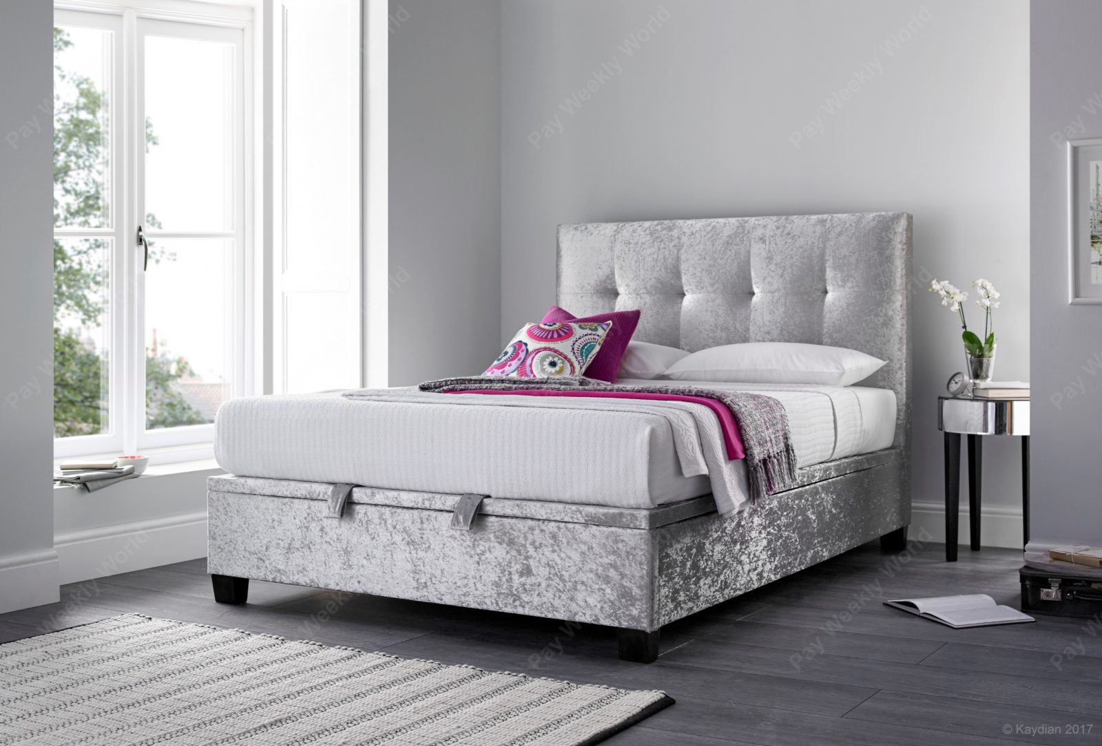 Walkworth Ottoman Silver Crushed Velvet Bed Frame – Super King