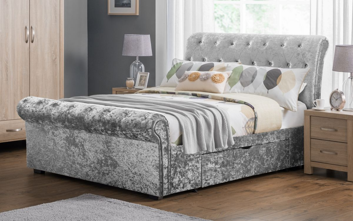 Verona Lilac Bed Frame With Drawers King Pay Weekly World