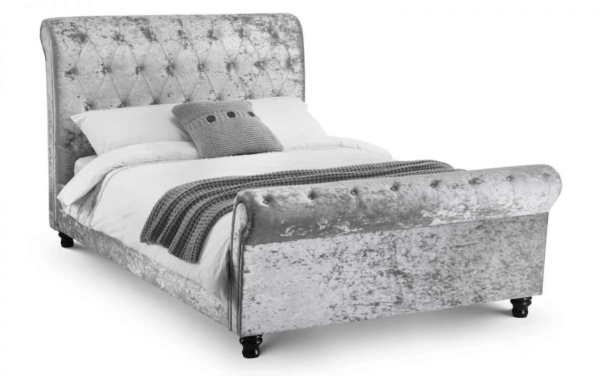 Verona Bed Range - Silver Crushed Velvet