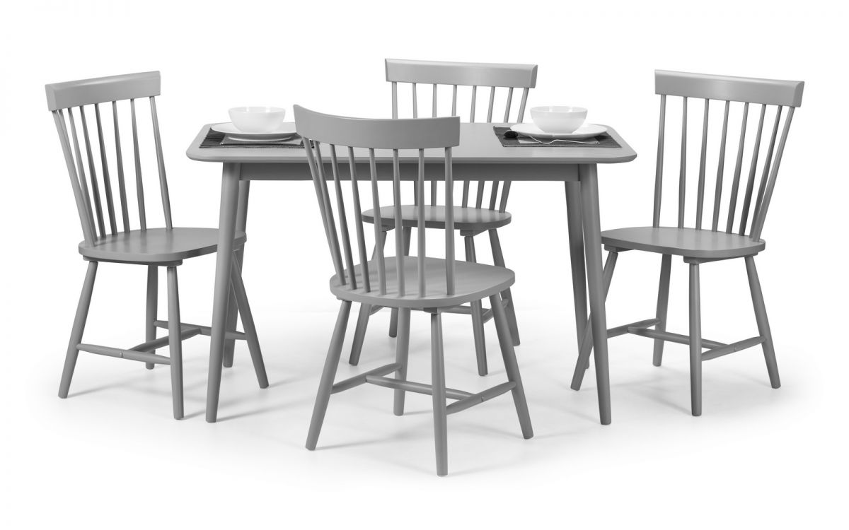 Torino Table + 4 Chairs – Lunar Grey